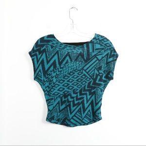Guess knit crop top tribal geometric print aztec
